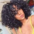 Brasileño de la virgen aunty funmi hair corto rizado armadura del pelo humano 5bundles Bohemio Rizado Espiral Bouncy Cabello Mojado Y Ondulado de La Armadura Curl
