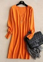 Женское трикотажное длинное платье с v образным вырезом, пуловер, свитер прямого кроя, большие размеры S/5XL, 4 цвета, опт и розница