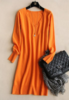 100 Goat Cashmere Knit Women S V Neck Long Dress Pullover Sweater Straight Large Size S