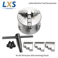 Machine Tool Accessories 6600rpm Three jaw 80mm Self Centering Lathe Chuck K11 80 with Wrench and Screws Hardened Steel