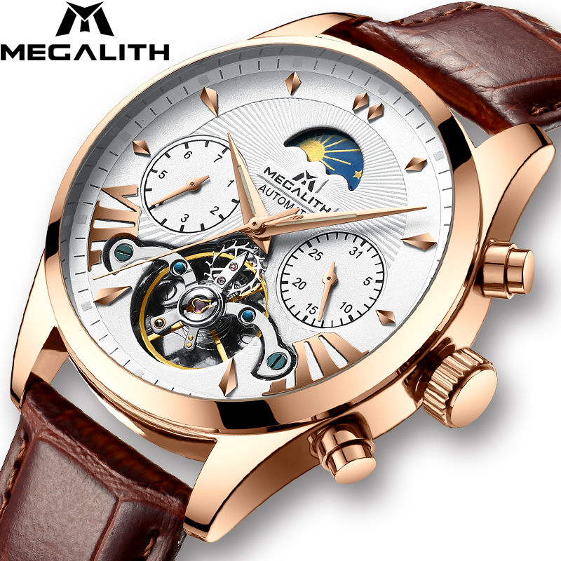 MEGALITH Men Fashion Automatic Mechanical Watch Waterproof Luminous Auto Date Week Moon Phase Watches Men Sport Tourbillon Clock(China)