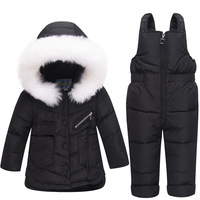 WENWENDEXINGFU Baby Girls Boys Winter Clothes Suits Children Clothes Suits White Duck Down Thicken Coats Bib Pants Kids Suits