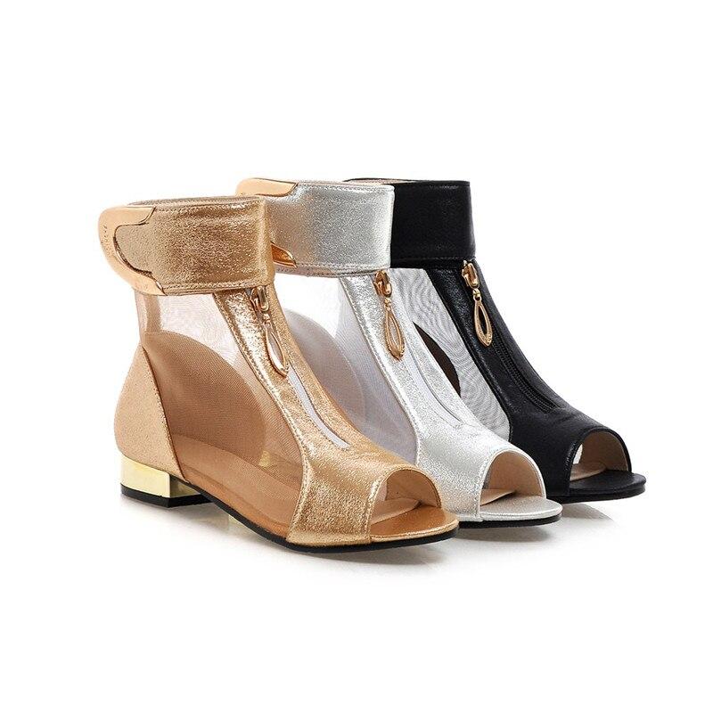 2018 Summer New Elegant Brand Mesh Sandals Metal Decoration Peep Toe Shoes Woman Low Heels Plus Size 34-48 Footwear LB2
