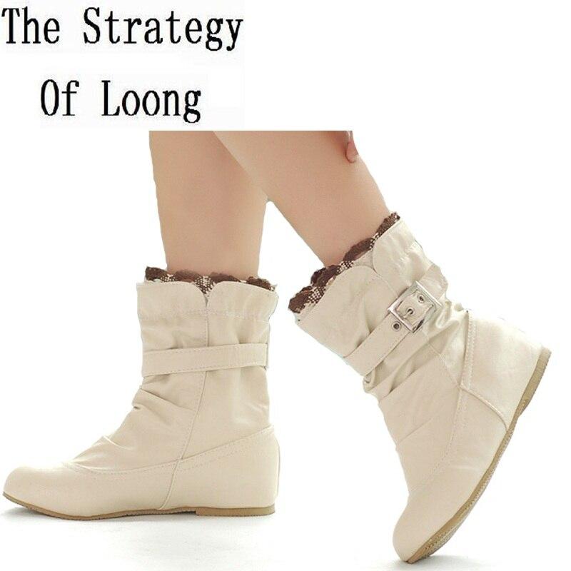Spring Autumn Fashion Casual Buckle Flat Short Boots Women Winter Thick Warm Snow Boots Big Size Shoes Plus Size Eu 41 42 43 44