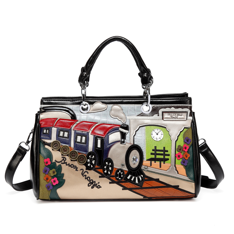 2018 Printing Cartoon Women Shoulder Bag Italy Braccialini Handbag Retro Handmade Bolsa Feminina Famous Luxury Designer Bolsos