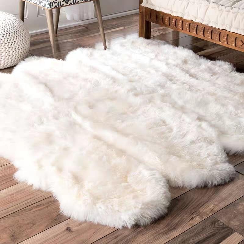 Big size Natural sheepskin rug 8P 180*200cm, shaggy sheep skin living room carpet for home decoration bedroom slide mat
