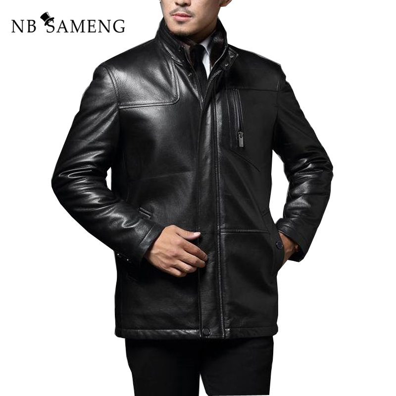 2018 осень-зима из натуральной кожи куртка Бизнес джентльмен досуг длинные кожаные пальто Бесплатная доставка