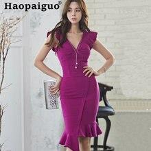 Женское облегающее платье с корсетом средней длины v образным