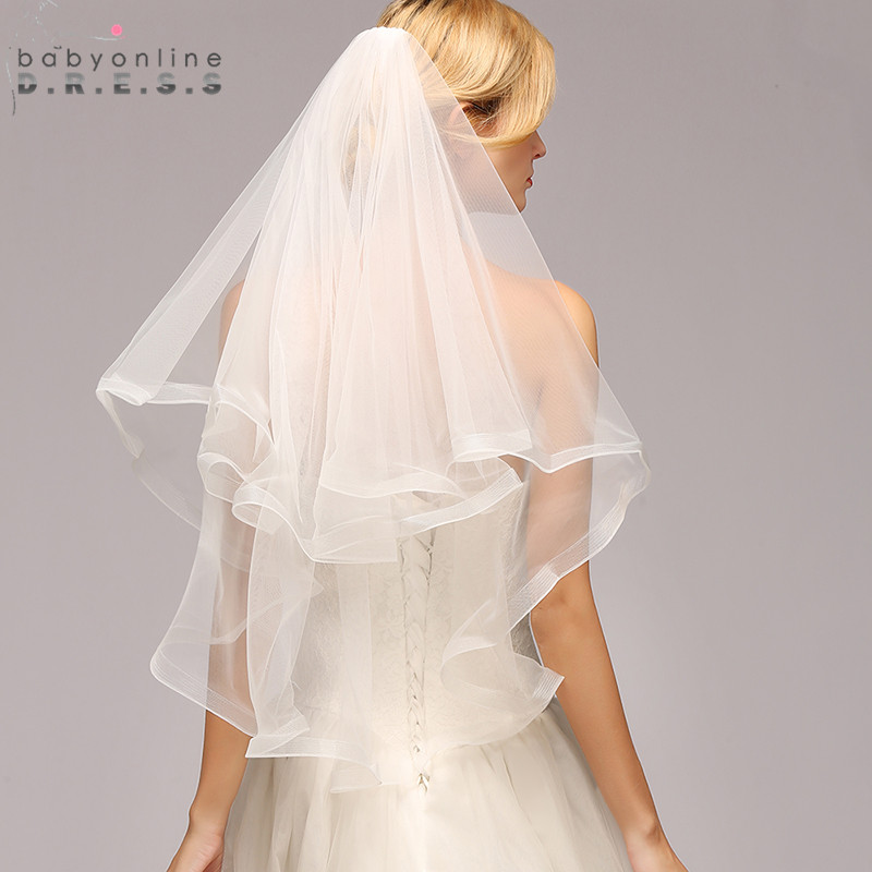 Wedding-Veil Ribbon-Edge Voile Comb Short Mariage Elbow-Length Ivory White One-Layer