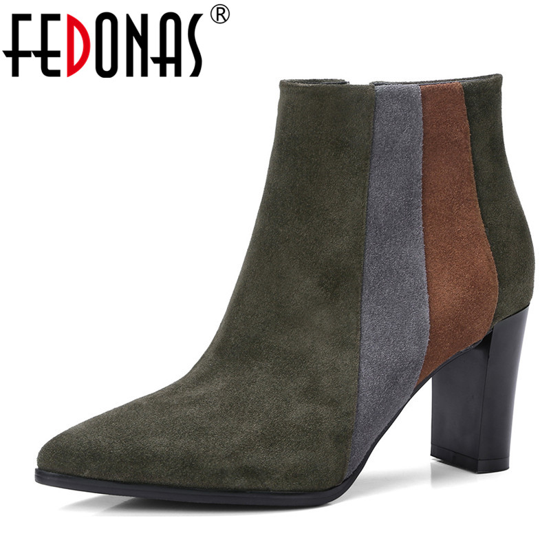 FEDONAS Brand Quality Mix-color Women Cow Suede Ankle Boots Sexy Pointed Toe Autumn Winter Shoes Woman High Heeled Club Pumps fishing line scissor cutter purple