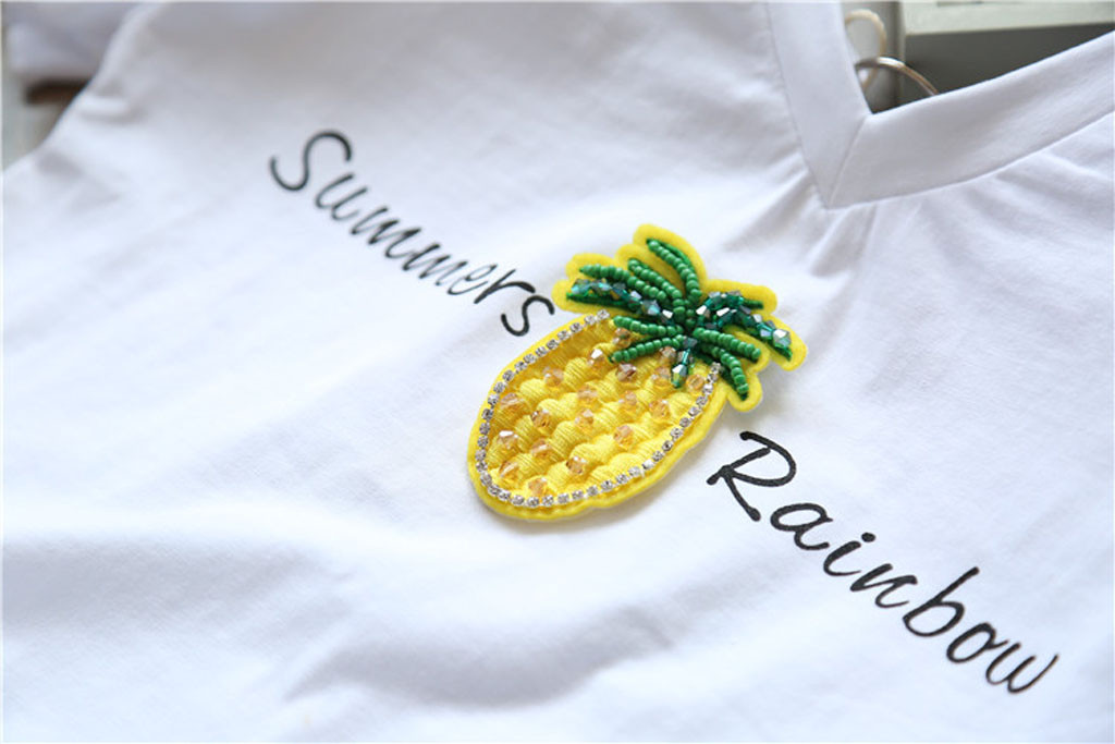 Toddler Kid Baby Girl Fruit Letter T-shirt Tops Princess Tulle Dress Clothes Set