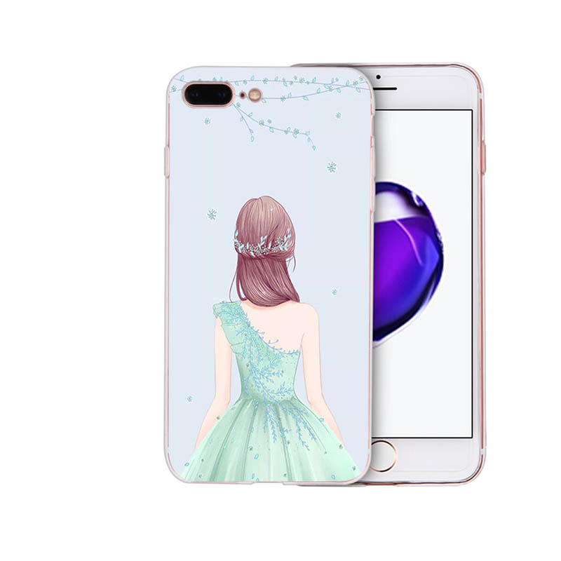 IMIDO Soft silicone phone case Princess skirt girl back view for iphone 7 8 6 5 x xs xr xsmax 7 8 6s 6plus 5s 6s SE TPU shell in Half wrapped Cases from Cellphones Telecommunications