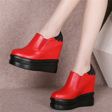 Punk Riding Boots Women Trainers Shoe Cow Leather Round Toe Creepers Wedges High Heel Platform Party Pumps Shoes Sneaker Oxfords outdoor creepers women cow leather wedges high heel party pumps punk goth tennis shoes round toe platform oxfords trainers shoes