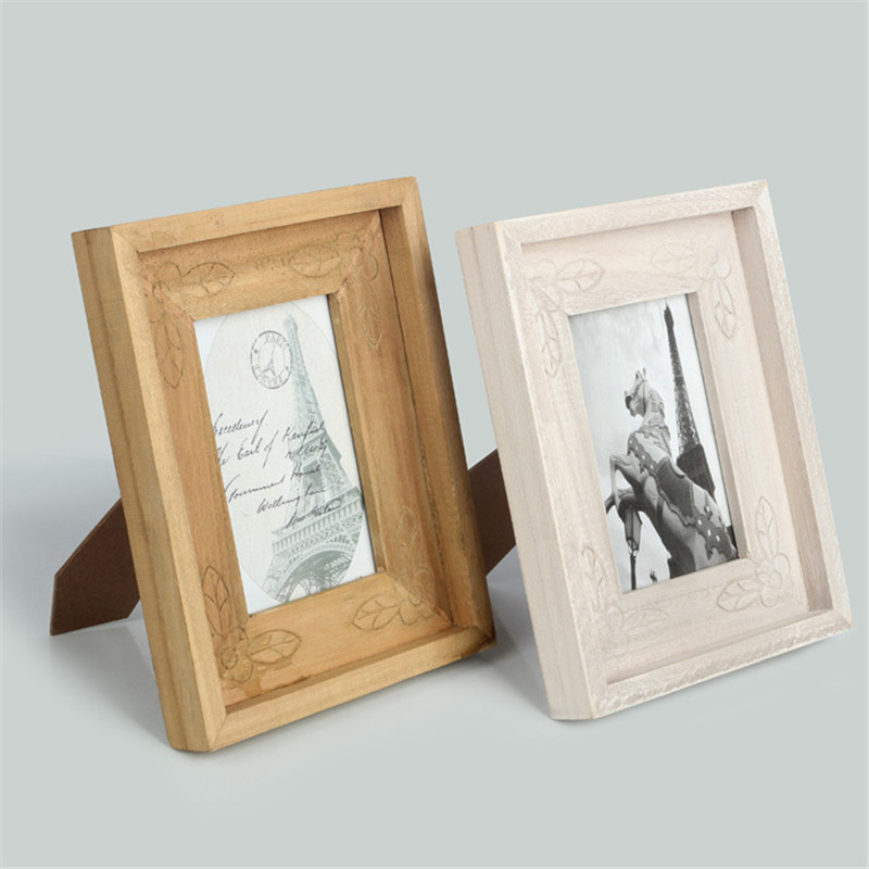 6 inch vintage wooden photo frame retro horse eiffel decorative desk stand picture frame home decoration