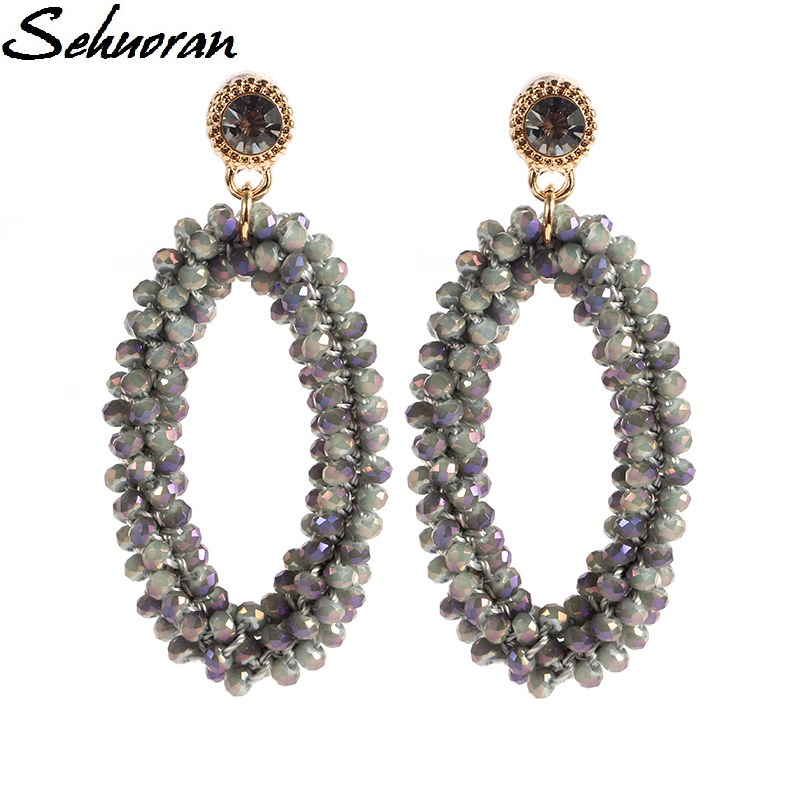 2017Fashion Bohemian crystal Long Earrings Unique Natural Traditional Crafts Knitting Large Earrings Women s Fine Jewelry