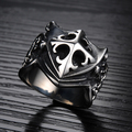 TrustyLan Cool Cross Shield Shape Stainless Steel Male Ring Punk Rock Vintage Jewelry Accessories Ring For Men Anel Aliexpress