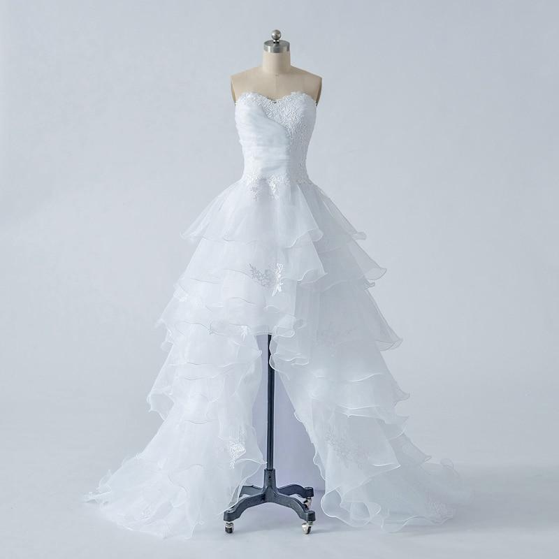 Alexzendra High Low White Organza kāzu kleitas Daudzfunkcionāli pušķi mīļotā vienkāršā līgava kleita Vestido De Noiva