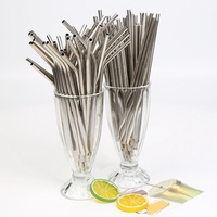 Straw 304 Stainless Steel Straw Refillable Hose 215Mm x 6Mm Straight Curved Straw Set