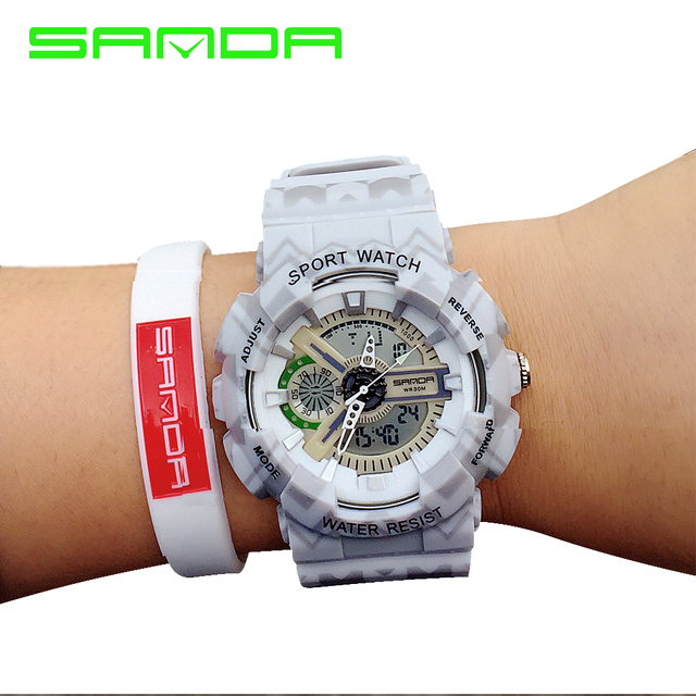 Fashion Outdoor Men Military Watch SANDA Brand LED Sports Watch Digital Quartz Multifunction Waterproof camouflage Student clock