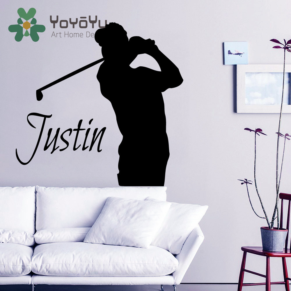 Golf Wall Decal Boy Personalized Name Stickers Golfer ...