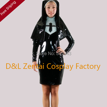Free Shipping DHL Wholesale Sexy Elegant Black Nun PVC Zentai Suit Dress Zipper Party Halloween Cosplay Costume