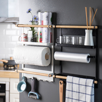Magnetic Adsorption Refrigerator Side Rack Wall mounted Multi function Storage Holder Kitchen Paper Towel Shelf Rack Organizer