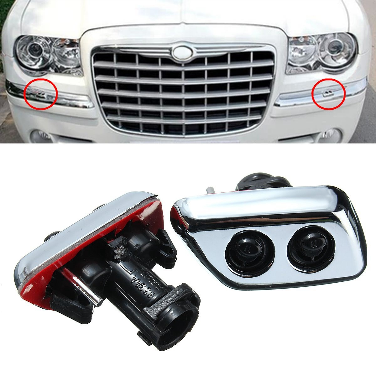 Pair Headlight Lamp Washer Front Bumper Water Spray Nozzle Jet Chrysler 300 Ke Light Fuse Box Cap Jetspray For C 2005 2007 Black Chrome In Windscreen Wipers From