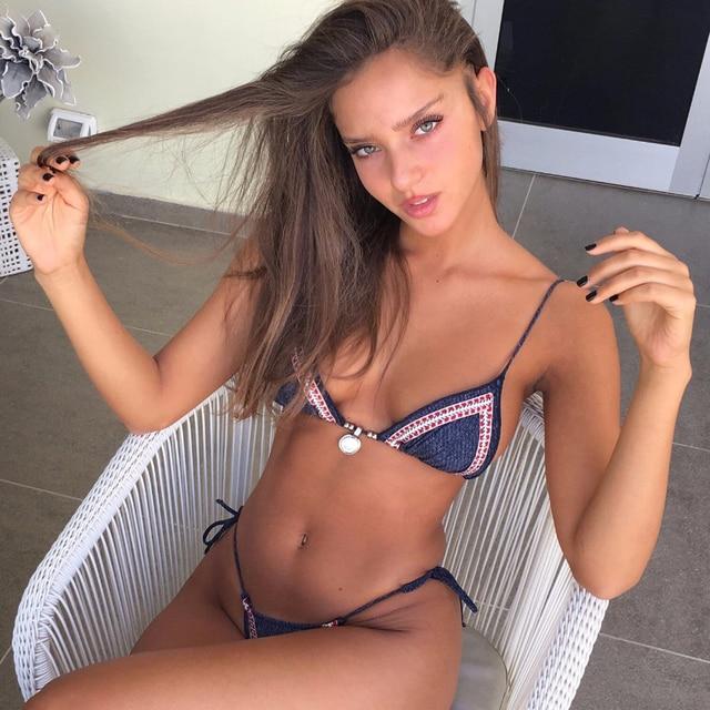 Sexy Thong Bikini Set 2018 Women Denim Swimwear Solid Swimsuit Micro Biquini Brazilian Bikinis Blue Bathing