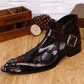 Christia Bella Diseñador de Los Hombres Zapatos de Cuero Genuino Botines Hebilla Hombres Botines Fiesta Hombres de Negocios Zapatos de Vestir Botas de Vaquero
