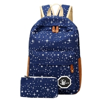 2 Pcs Set Cute Star Women Men Canvas Printing Backpack School Bag For Girl Boy Teenagers