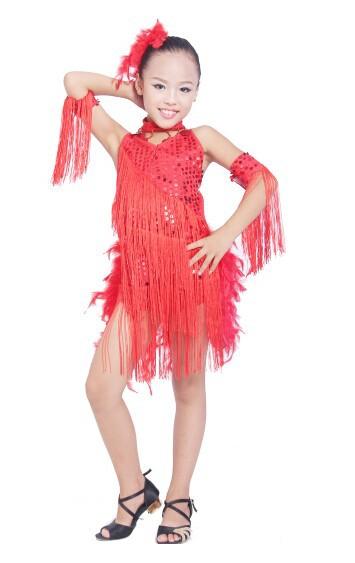 DB23553 fringe feather sequin latin dance dress-8
