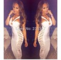 Free Shipping 2016 Latest Designs New Fashion White Cut Out Bandage Dresses