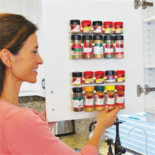 4pc Seasoning Bottle Storage Racks Plastic Spice Wall Rack Shelving Drawer Organizer 20 Cabinet Hooks Holder Kitchen Accessories(China)