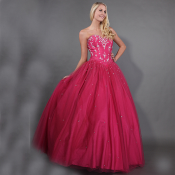 Fuchsia Pink Quinceanera Dresses Sweetheart Full Length Puffy Princess Ball Gowns Appliques BeadedWhite Appliques Sweet 16 Dress