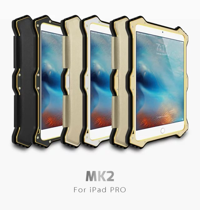 Gorilla Glass Metal Aluminum Hybrid Shockproof Smart View Magnetic Flip Leather Cover Case for Apple iPad Mini 4/iPad Pro 12.9