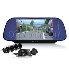 Complete Car Reversing Set - Rearview Camera, 4 Parking Sensors, 7inch Mirror Monitor 800x480 Resolution