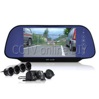 ANSHILONG Complete Car Reversing Set Rearview Camera, 4 Parking Sensors, 7inch Rearview Mirror Monitor 800x480 Resolution