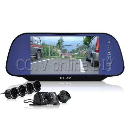 ANSHILONG ensemble complet d'inversion de voiture-caméra de recul, 4 capteurs de stationnement, moniteur de rétroviseur de 7 pouces résolution 800x480