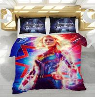 Women Captain Marvel Character Duvet Cover Set Popular The Avengers Bedding Set Twin Full Queen King Size Bed Linens Bedspreads