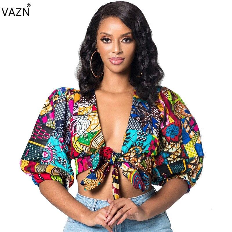 c0d710627384 VAZN 2019 mejor calidad moda mujer cuello pico profundo media manga Tops  cortos Sexy señora ...