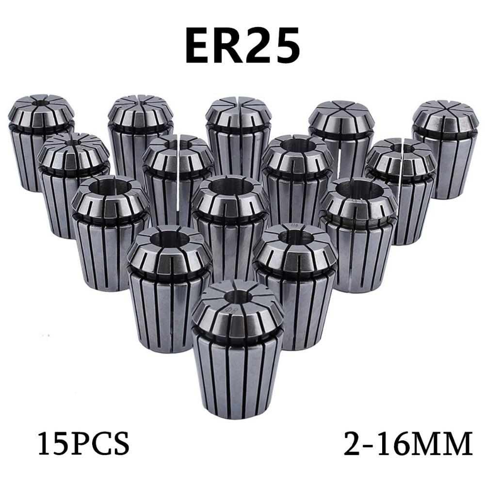 15Pc ER25 Precision Spring Collet Set for CNC Engraving Machine milling Lathe Tool TMPG Gripping Range