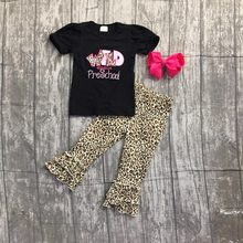 cb51622d4beaf Summer back to school outfit girls cute clothes black leopard preschool kids  capris set baby kids with accessories boutique new