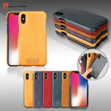 цены For Apple iPhone X 8 7 Plus Phone Case Pierre Cardin Luxury Ultrathin Genuine Leather Case Hard Back Cover Case Free Shipping