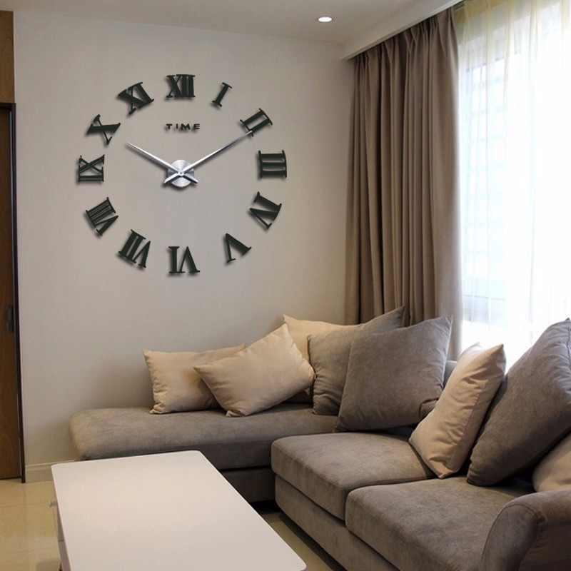 promotion 16 new home decor large roman mirror fashion modern Quartz clocks living room diy wall clock watch free shipping 11