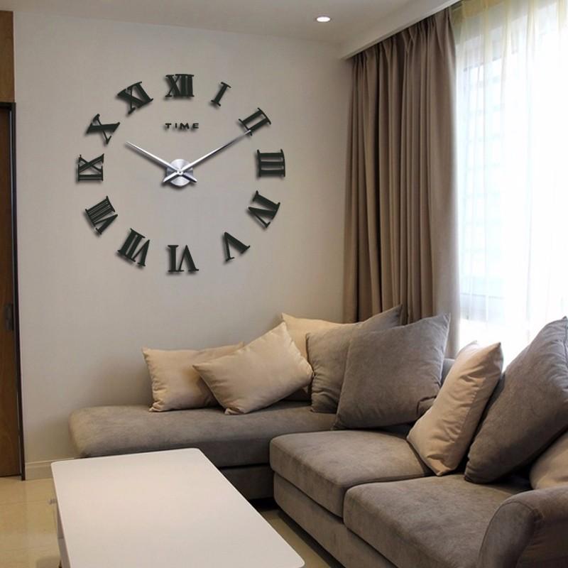 promotion 16 new home decor large roman mirror fashion modern Quartz clocks living room diy wall clock watch free shipping 11