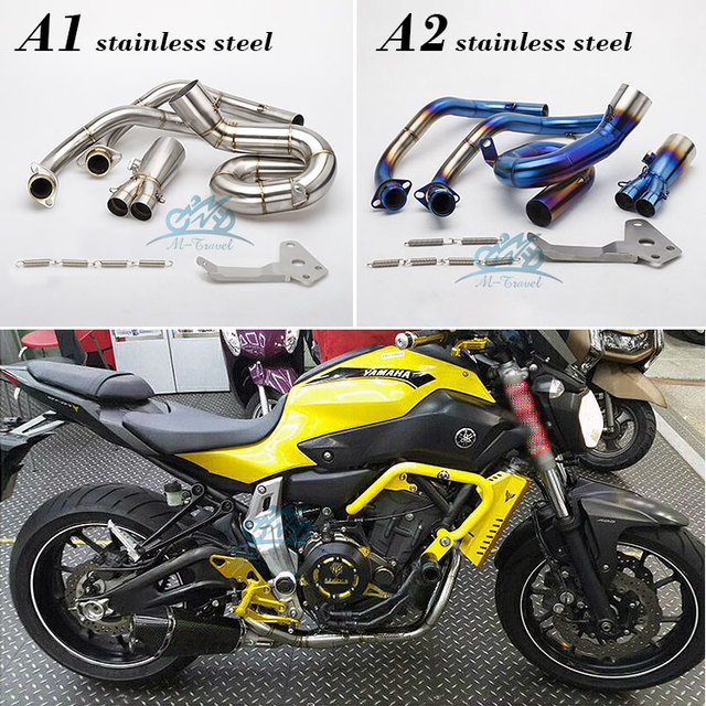 US $120 0  Motorcycle Exhaust Modified Scooter Front Pipe Slip On Full  System For FZ 07 MT 07 2014 2017 MT07 link pipe MT07 exhaust -in Exhaust &