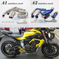 Motorcycle Exhaust Modified Scooter Front Pipe Slip On Full System For FZ 07 MT 07 2014 2017 MT07 link pipe MT07 exhaust