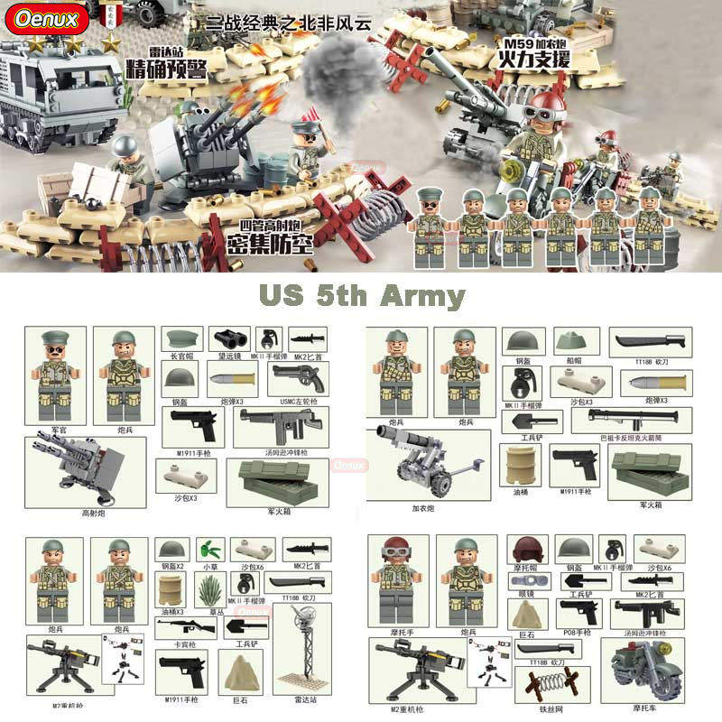 New Arrival World War 2 North Campaign US 5th Army Military Figures Building Block WW2 Military Soldier With Weapons Brick Toys
