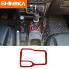 SHINEKA Interior Mouldings For Jeep Wrangler JL ABS Car Gear Shift Panel Cover Ring Sticker Accessory For Jeep Wrangler JL 2018+ citall fit for jeep wrangler jl 2018 2019 abs interior copilot seat front grab handle bar trim cover strip mouldings decoration