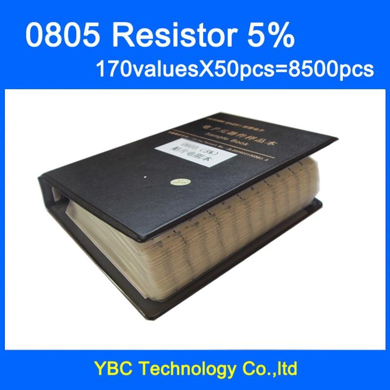 0805 SMD Resistor Sample Book 5 Tolerance 170valuesx50pcs 8500pcs Resistor Kit 0R 10M